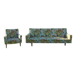 Vintage Couch Armchair Floral Fabric Tapestry Wood Tapered Legs
