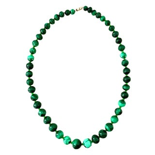 20th Century Polished Malachite & Glass Bead Necklace For Sale