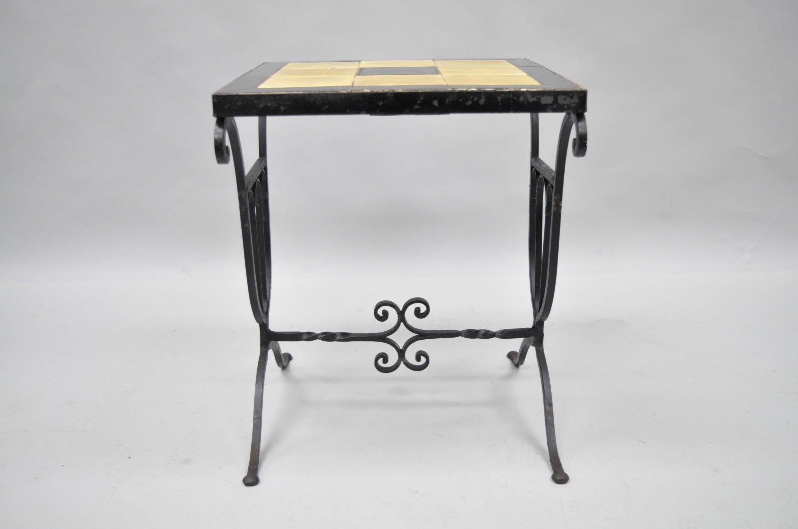 Art Nouveau Wrought Iron Metal Ceramic Tile Top Small Side Table Rh Chairish Com Mid Century Modern Coffee Set