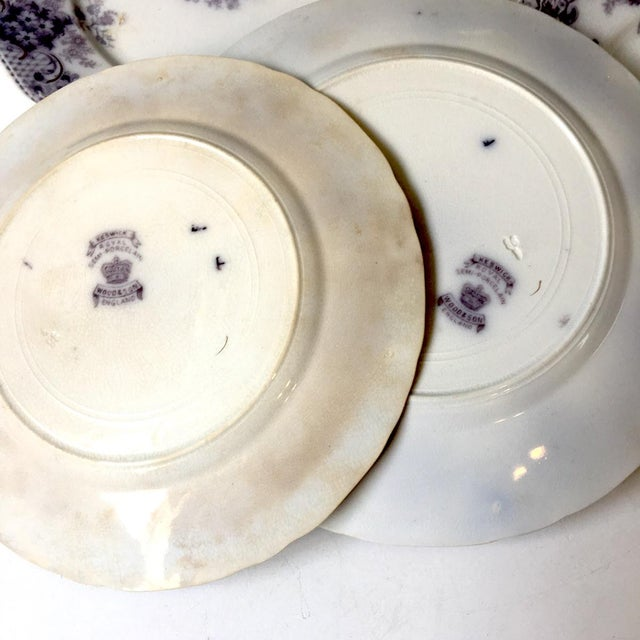 1900s Wood and Son Keswick Purple Plate Collection - 4 Pieces For Sale In Boston - Image 6 of 8