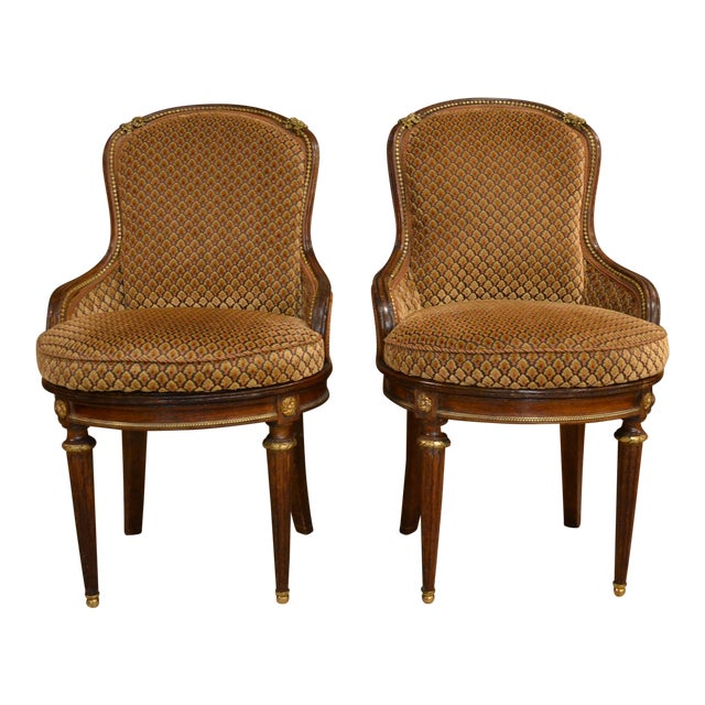 Pair of Antique French Louis XVI Occasional Chairs circa 1880 For Sale