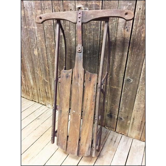 Vintage Weathered Wood & Metal Runner Sled - Image 3 of 11