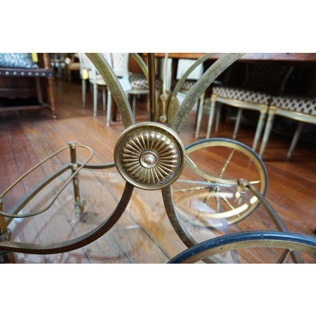 French Brass and Glass Service Table For Sale - Image 5 of 10