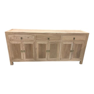 Asian Modern Raw Elmwood Cabinet For Sale
