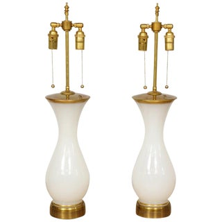 Pair of White Opaline Lamps For Sale