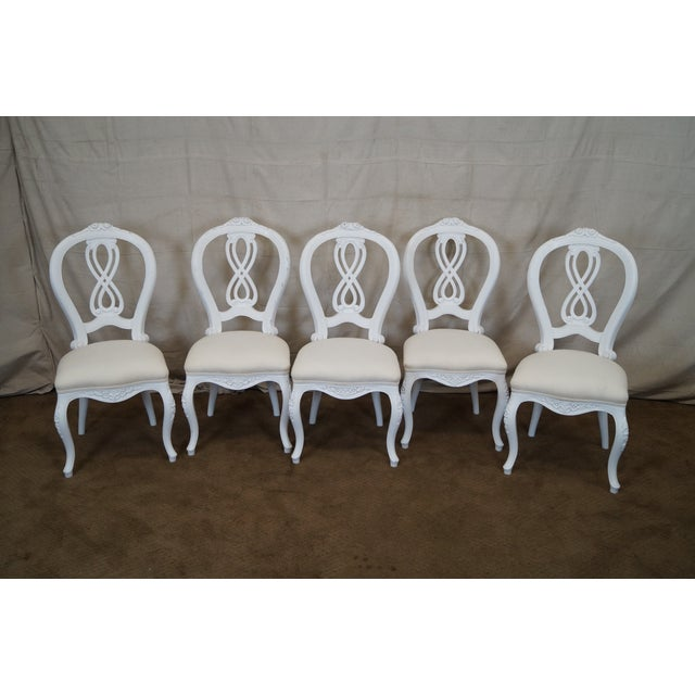 French Style White Dining Chairs - Set of 10 - Image 3 of 7