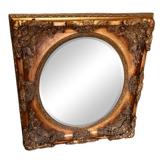Rococo Style Carved Wood & Gesso Gilt Beveled Oval Mirror For Sale
