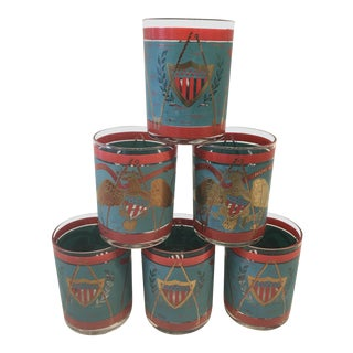 1950s Americana Patriotic Cocktail Glasses by Cera - Set of 6 For Sale