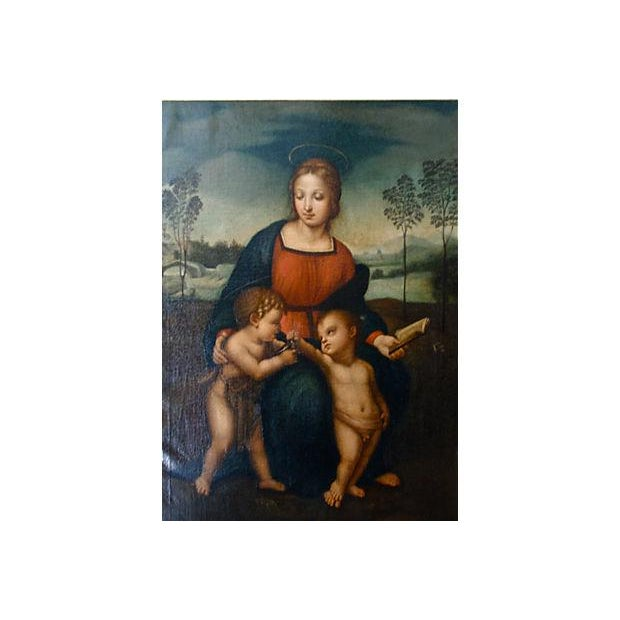 "Original antique Italian oil painting titled ""Madonna of the Finch"" after Raphael. An 18th-century oil on canvas rendering..."