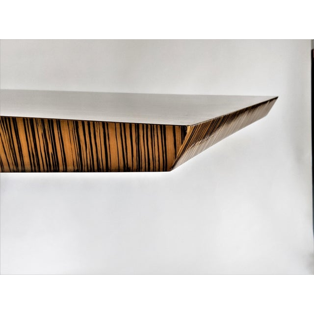 Zebra Wood Modern Cantilever Desk For Sale - Image 9 of 13