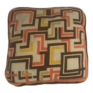 Mid Century Geometric Needlepoint Square Pillow For Sale