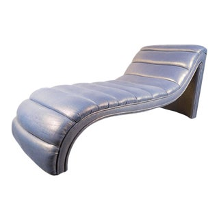 Mid-Century Modernist Channel Tufted Chaise in Metallic Amethyst Glazed Linen