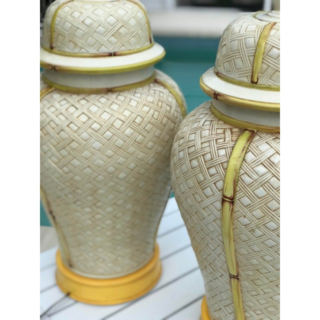 Vintage Faux Bamboo Basket Weave Ginger Jar Lamps-Pair For Sale - Image 6 of 11