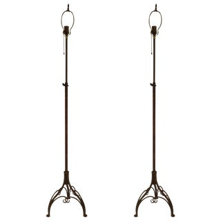 Pair of 1940s Expandable Wrought Floor Lamps For Sale