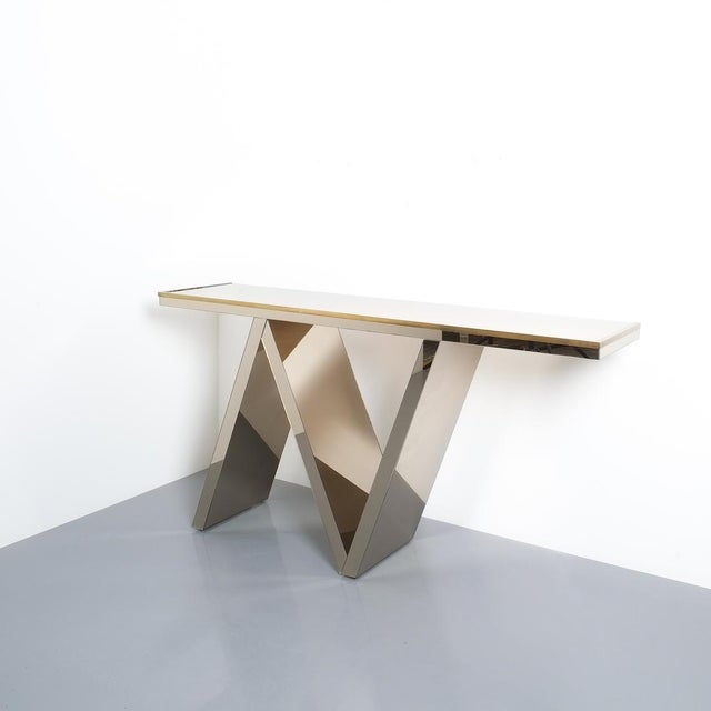 Mid-Century Modern Artisan Zigzag Mirror Brass Console Table Italy, Circa 1970 For Sale - Image 3 of 13