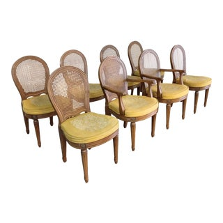 1960s Vintage Henredon French Style Cane Back Dining Chairs- Set of 8 For Sale