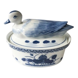 Blue & White Chinoiserie Duck Tureen For Sale