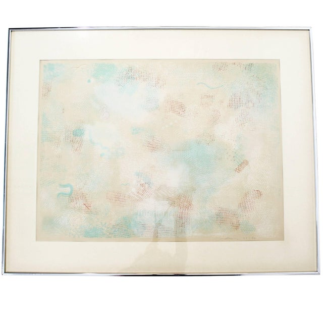 Orange Mid-Century Modern Framed Abstract Litho Robert Natkin Dated 1970s For Sale - Image 8 of 8