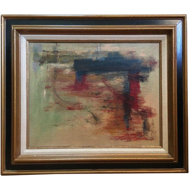 1975 Vintage Mid Century Abstract Expressionist Oil Painting, Signed Jesse Jacobs For Sale