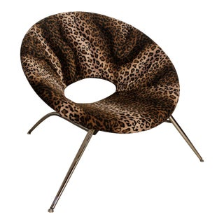 Italian Leopard Print Round Chair For Sale