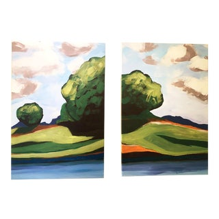 Summer Trees Large Pair of Prints on Canvas of Hand Painted Artwork - a Pair For Sale