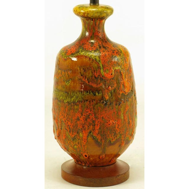 Lava Red Drip Glaze Hand Thrown Ceramic Body Table Lamp For Sale - Image 4 of 6