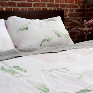 Peony Linen Queen Duvet Cover with Set of 2 Queen Shams - 3 Pieces For Sale
