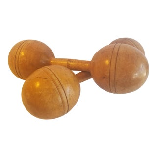 Antique Wood Hand Weights - Set of 2 For Sale