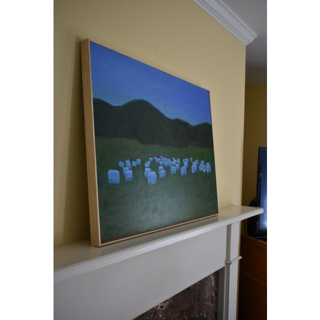 "Blue ""Baled Hay at Dusk"" Painting by Stephen Remick For Sale - Image 8 of 11"