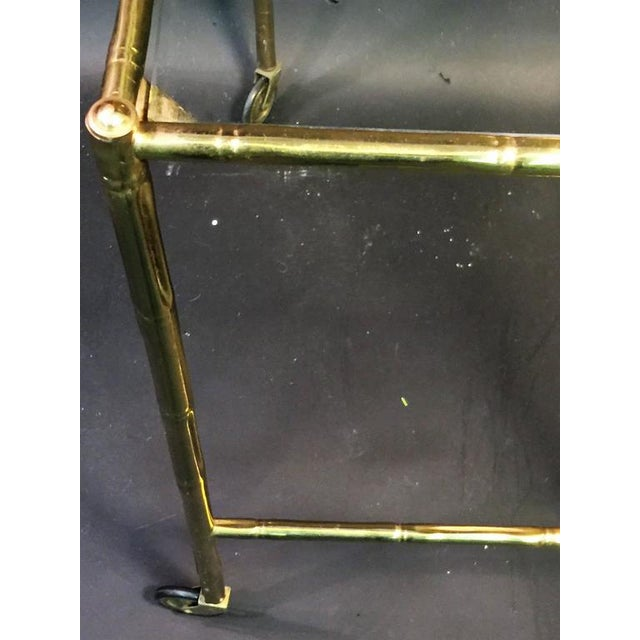 EXCEPTIONAL PAIR OF BAQUES BRASS BAMBOO NESTING TABLES ON WHEELS For Sale - Image 10 of 10