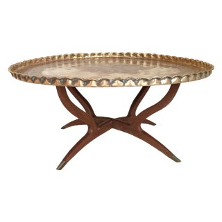 Vintage Moroccan Brass Tray Table For Sale
