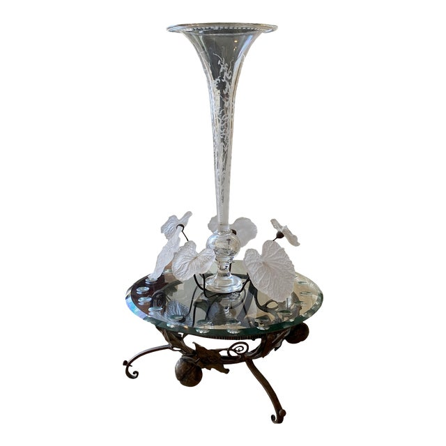 19th Century French Crystal and Iron Epergne For Sale