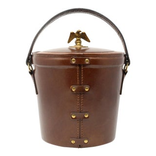 Vintage Leather Wrapped Federal Eagle Ice Bucket For Sale