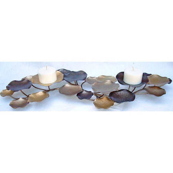 2010s Metal Lilypad Candle Holder Sculpture For Sale - Image 5 of 6
