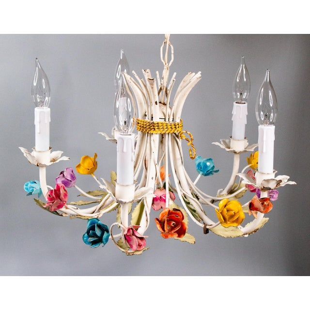 Vintage Mid-Century Italian Tole Roses Five Arm Chandelier For Sale In Houston - Image 6 of 9