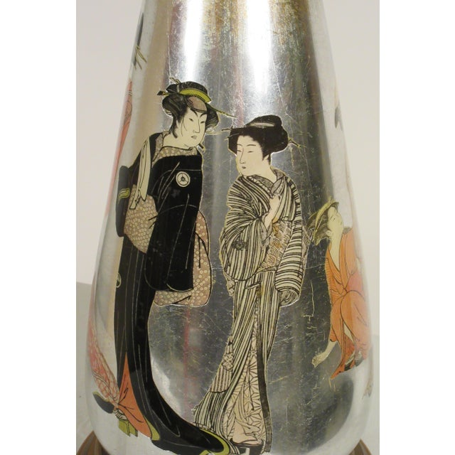 Pair of Tall 1950s Eglomise Silver Leaf Asian Lamps For Sale - Image 4 of 13