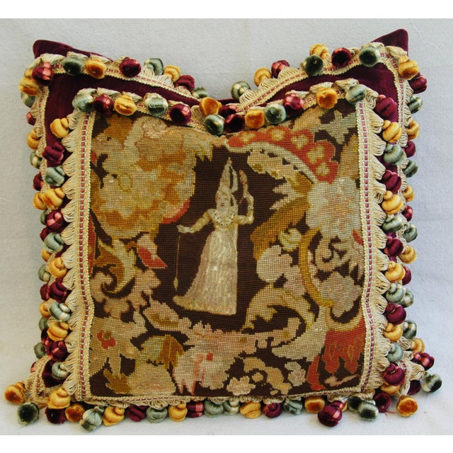 Custom Antique French Needlepoint & Velvet Pillow - Image 6 of 11