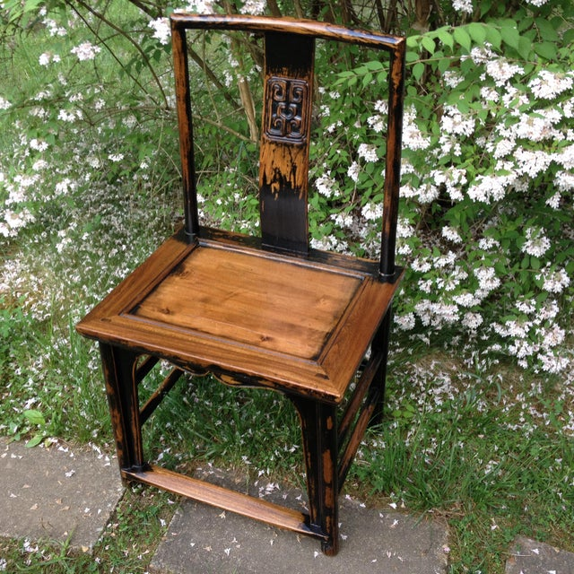 1830s Antique Qing Dynasty Teak Camphor Wood Side Chair For Sale - Image 13 of 13