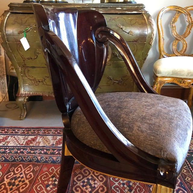 A fabulous Circa 1923 French Sue et Mare Side Chair as designed for David Weill. Subtle petal form carved back with gently...