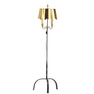 Brass and Wrought Iron Palm Beach Floor Lamp For Sale
