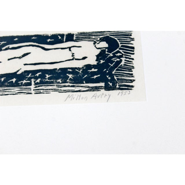 Printmaking Materials Mid-Century Modern Framed Nude Woodcut Artist Proof Signed Milton Avery, 1950s For Sale - Image 7 of 10