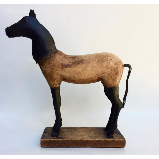 Vintage Wood and Metal Horse Sculpture - Image 2 of 6