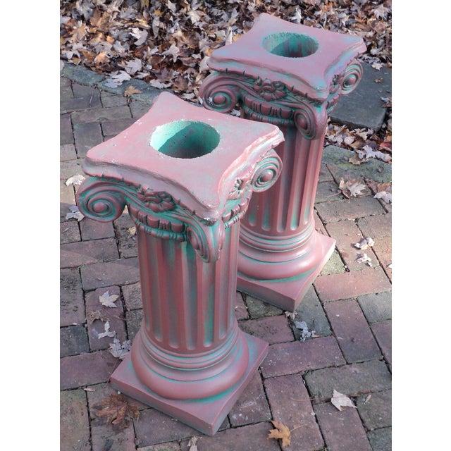 Antique Painted Concrete Corinthian Columns - A Pair For Sale - Image 4 of 10