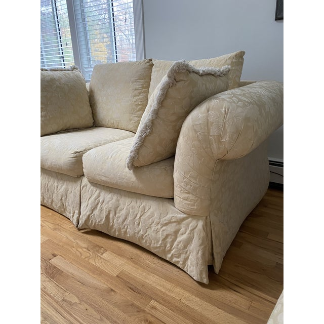 1980s Traditional Rolled Arm Sofa and Loveseat - A Pair For Sale - Image 12 of 13