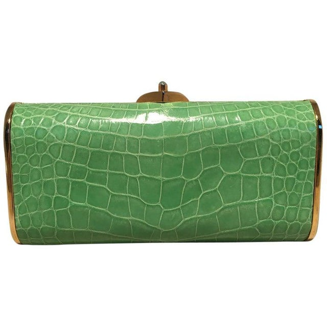 Judith Leiber Vintage Mini Green Alligator Clutch Minaudiere For Sale - Image 9 of 9