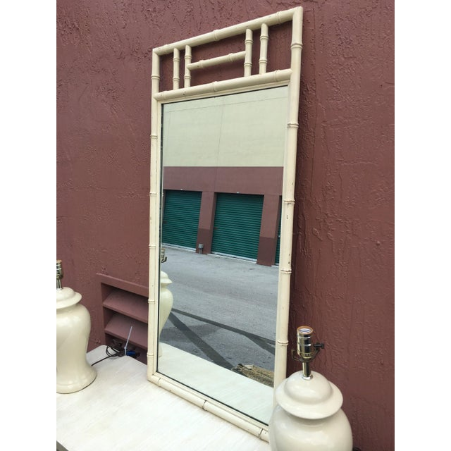 Cream Color Wood Faux Bamboo Mirror For Sale - Image 4 of 6