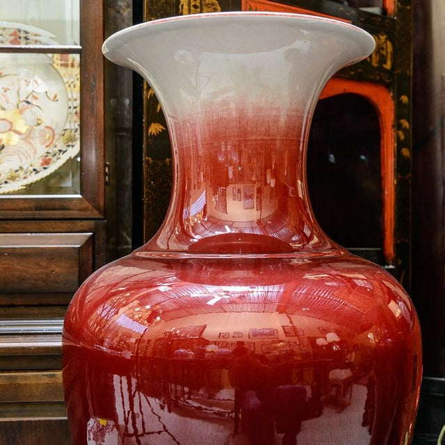 Large Oxblood Floor Vases - a Pair For Sale - Image 4 of 7