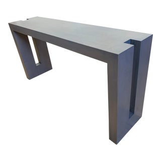 Custom Design Geometric Frame Wood Console Table For Sale