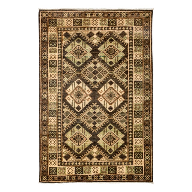 "New Tribal Traditional Hand Knotted Area Rug - 4'2"" x 5'10"" - Image 1 of 3"
