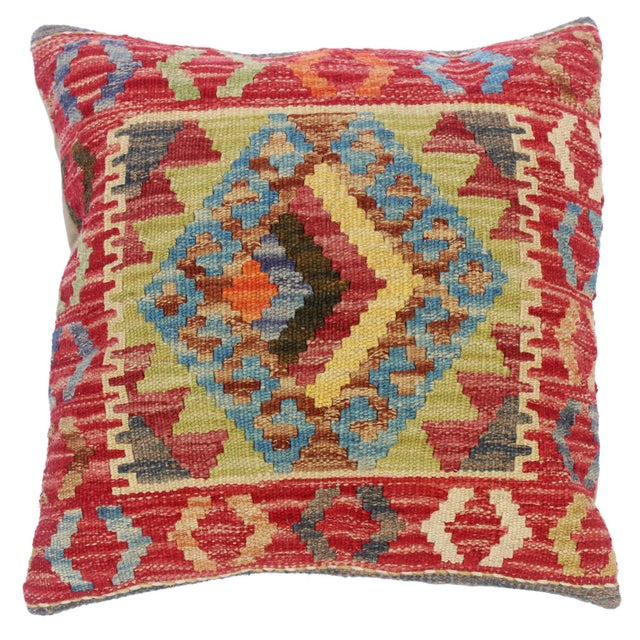 """Clelia Orange/Lt. Blue Hand-Woven Kilim Throw Pillow(18""""x18"""") For Sale In New York - Image 6 of 6"""
